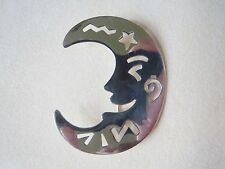 Sterling Silver Punched Moon Face Pin Brooch 8.4 Grams Marked Soma 925