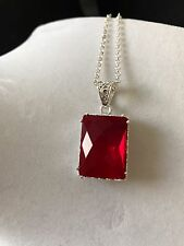 Artisan's Vintage 38ct.RED RUBY Necklace Sterling Silver $75.89 NEW