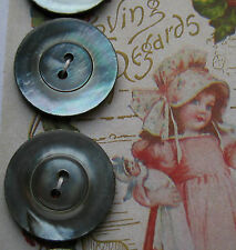"""Set of 4 Vintage Smokey two hole 7/8"""" Mother Of Pearl  Buttons ~ doll ~quilt"""