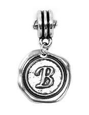 Letter B Alphabet Initial Wax Stamp Dangle Charm for Silver European Bracelets