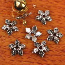 200pcs 8mm Charms DIY Jewelry Flower Bead Caps Tibet Silver Spacer Bracelet 7276