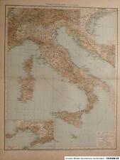 Landkarte, Übersichtskarte von Italien, Velhagen & Klasing 1895