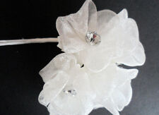 Ivory Silk Organza flower with Diamante centre pk6