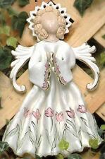 RETIRED - WHITE WILD FLOWERS GARDEN ANGEL WALL PLAQUE -CLAYWORKS - BLUE SKY
