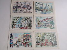 Vintage ESSO Gas Set 6 Laminated Travel Cards Tiger George Shawe Art NY DC Phila
