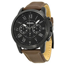 Fossil Grant Chronograph Black Dial Brown Leather Mens Watch FS4885