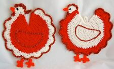 Chicken decoration knit pot holders set of two,rooster and hen,New Year symbol