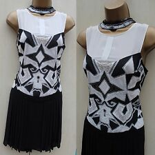 Karen Millen 20's Pleat Tribal Cutwork Gatsby Flapper Cocktail Dress 12 UK