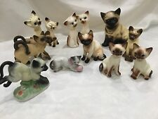 Set of 12 Vintage Collection Ceramic Siamese Kitty Cat Japan planter salt pepper