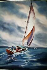 Jeanne Manget Watercolor of a Sailboat 22 x 30