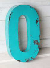 """20"""" Industrial Rustic Block Letter O Sign, Teal, Recycled Metal Letter"""