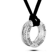 925 Sterling Silver Plated LOVE Necklace Pendant Swarovski Crystal Leather Chain