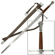 "1700s European Bastard Tempered 46"" Sword with Sheath Medieval Collectible"