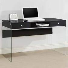 Modern Style Study Home Office Computer Desk Clear Glass Sides Legs Wood Black