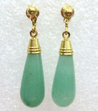 Natural Light Green Jade Yellow Gold Plated Stud Drop Earrings
