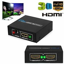 1x2 HD 1080P 3D 2 Way HDMI Splitter Switch Amplifier Hub Box For TV PS XBOX PC