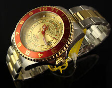 INVICTA MENS STUNNING  47 MM GMT  SWISS 18K GOLD PLATED 2 TONE BAND  W GOLD DIAL