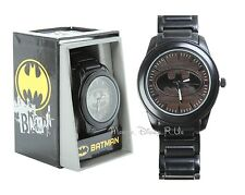 New Men's DC Comics Batman Logo Wood Grain Face Gunmetal Wrist Watch