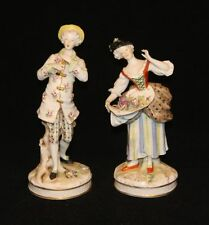 Pair Antique Royal Vienna Dresden Beehive Mark Figurines Man & Woman (AS IS)