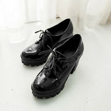 Womens High Block Heels Platform Round Toe Patent Leather Lace Up Oxfords Shoes