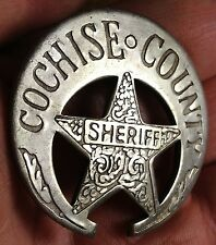 Cochise County Sheriff Crescent Moon Star Shaped Silver Plate Pinback Badge