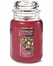 ☆☆RED APPLE WREATH☆☆ LARGE YANKEE CANDLE JAR ☆☆CHRISTMAS SCENTED CANDLE