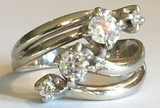 Vintage 14k White Gold Mine Cut Diamond Crossover Cocktail Ring .75 CTW Size 7
