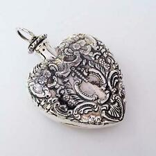 PERFUME BOTTLE & VINTAGE HEART PENDANT ANTIQUE STYLE SOLID 925 SILVER FREE SHIP