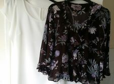 Ladies Berkertex Multi-Color Floral 100%Viscose & Promod Cream Women Top Size 14