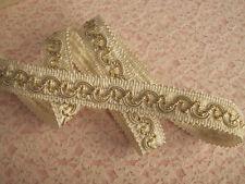 Ivory and Gold Scroll Braid Gimp Trim, Home Decor, Passementerie Trim