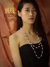 Collier Sautoir Perle de Culture d`Eau Douce Original Soirée Mariage Cadeau TZ