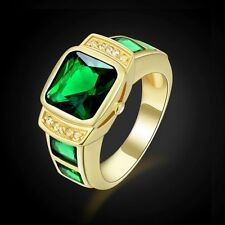 Luxury Fashion Jewelry 18K Gold Plated Rings Emerald Engagement Ring For Mens