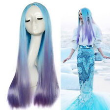Blue Purple Ombre Long Straight Mermaid Costume Wig Lolita Style Fantastic Wig