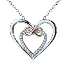 925 Sterling Silver Gem CZ Double Heart Pendant Rose Gold Infinity Love Necklace