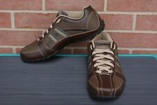 Men's Skechers with Memory Foam Leather Lace-up Sneakers, 64455 Brown Size 9