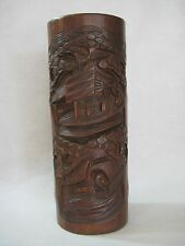 """LARGE ANTIQUE CHINESE  HAND CARVED BAMBOO BRUSH POT, 12"""" TALL X 4 1/2"""" DIAMETER"""