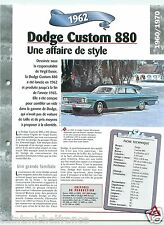 Dodge Custom 880 Berline/Break V8 1962 USA Car Auto Retro FICHE FRANCE