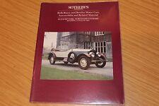 Rolls Royce & Bentley Motors & Automobilia Sothebys Catalogue 1994