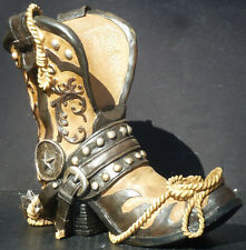 WESTERN VINTAGE  Cowboy Boot Wine Holder   Figure Statue  H9""