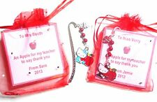 Hello Kitty Apple for the Teacher Thank You Bookmark Personalised Gift Card +Bag