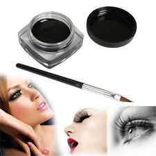 HOT! Black Waterproof Eye Liner Eyeliner Gel Makeup Cosmetic+Brush Black ONE SET