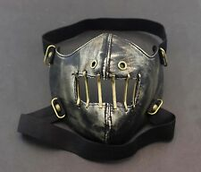Mens Unisex SteamPunk Punk Biker Gothic Golde Leather Half-face Mask Masquerade