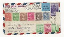 1941 Binghamton NY to Berlin Germany Airmail, 10 Stamps, Prexies, Censored