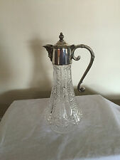 "LOVELY SILVER PLATED AND CUT GLASS CLARET JUG 11"" TALL (CJ 323)"