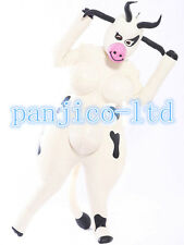 Latex Rubber White and Black Inflatable Catsuit Cute Cows Suit Size XS- XXL