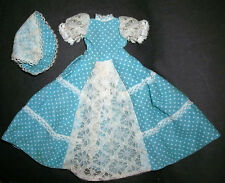 Sindy, Barbie Doll CLOTHES: Faerie Glen blue polkadot long dress, lace & hat