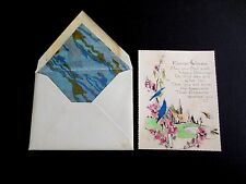 Unused Art Deco Easter Greeting Card Blue Birds on Pink Flower by Country Church