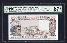 West African States Togo P. 808Tm 5000 Francs PMG 67 EPQ Highest Graded - Pop 1