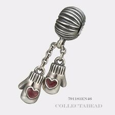 Authentic Pandora Silver Dangle Winter Mittens Bead  791181EN46