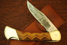CAMILLUS NEW YORK USA NAHC HERRING BONE WOOD BIG LOCKBACK KNIFE NICE (FZ228)
